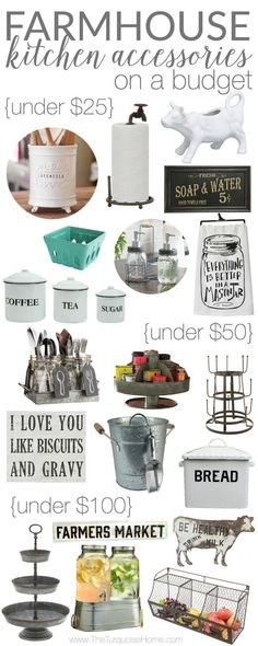 It's ALL adorable!! Farmhouse Kitchen Accessories on a Budget
