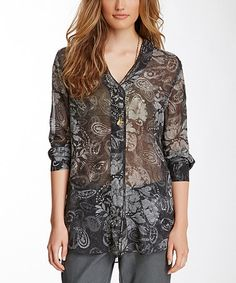Another great find on #zulily! Gray Paisley Silk Button-Up Top by Da-Nang #zulilyfinds
