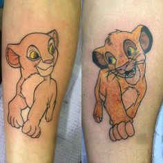 When you're a 'Lion King' fan and want to get a couple's tattoo, Simba and Nala are a great choice. These sweet Disney tattoos were done by Paul Lovio.