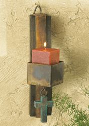 Square Candle Holder with Turquoise Cross