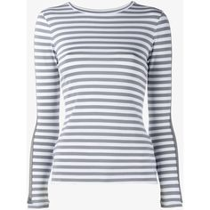 Natasha Zinko Striped Top With Lace Sleeves ($245) ❤ liked on Polyvore featuring tops, striped breton top, lace sleeve top, striped top, tweed top and stripe top