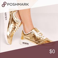 COMING SOON Gold mirrored lace up bubble detail sneakers Shoes Sneakers