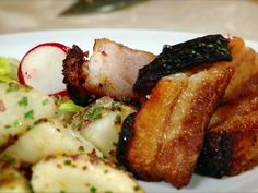 Roasted Pork Belly with Warm Potatoes and a Celery Radish Salad recipe from Guy Fieri via Food Network