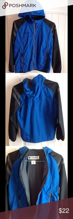 Boys Columbia Full Zip Jacket. 14/16 Boys Columbia full zip jacket with hood. Water and wind resistant.  Elastic cuffs. 100% nylon. Mesh lining is polyester. Royal/black. Boys 14/16   Great condition!! Columbia Jackets & Coats