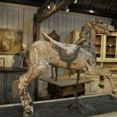 carousel horse made of hand carved wood with original 19th century paint.