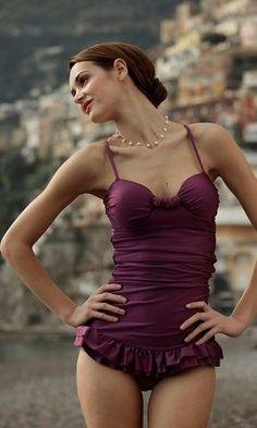 (via Burgandy Plum Raisin / Purple One Piece Swim Suit with Ruffled Bodice)