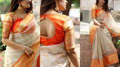 Ultimate Festive Saree Collections are Here White Saree Blouse, Pattu Saree Blouse Designs, Saree Dress, Floral Blouse, Floral Lace, Saree Designs Party Wear, Party Wear Sarees, Dress Designs, Onam Saree