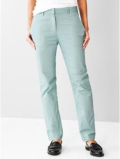 NEW! Broken-in straight chambray pants | Gap | $40 I live in these pants in the spring and summer. Loving this pale blue!