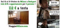 Volo e appartamento per 4 persone da Milano Malpensa a Budapest, 8 notti dal 02 al 10 Ottobre: 112 € a testa!