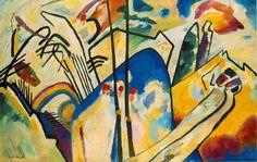 "Wassily Kandinsky. Composition IV, 1911 Oil on canvas 62.8 × 98.6"" (159.5 × 250.5 cm) Dusseldorf. Germany. Kunstsammlung Nordrhein-Westfalen, Germany"