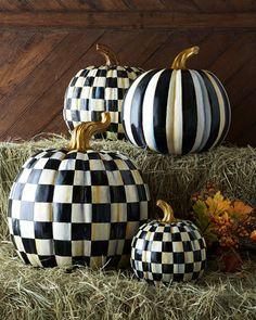 -56W5 MacKenzie-Childs Courtly Check & Courtly Stripe Pumpkins