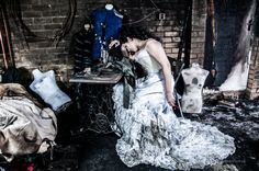 Victorian wedding dress damaged in a fire ( bodice and overskirt gone...),is ideal for the trash the dress shoot! Dress by Prior Attire
