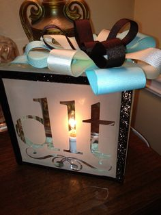Tiffany blue and brown glass block light by CraftyCahoots on Etsy, $35.00