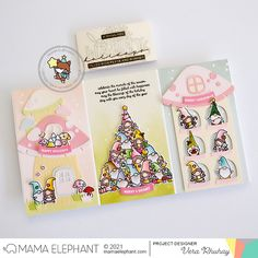 mama elephant | design blog: Gnomie Series with Vera Tri Fold Cards, Folded Cards, Girl Gnome, Holiday Messages, Merry Christmas Happy Holidays, Pink Cards, Mama Elephant, Happy Words, Elephant Design
