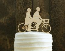 Rustic Wedding Cake Topper with Bride and Groom Silhouettes on Tandem Bike - Bicycle Silhouette Cake Topper
