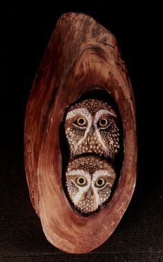 Bird Wood Carving Owls in WalnutOriginal Hand