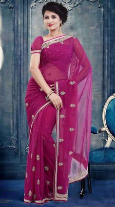 Pretty Moti Lace Work Border Pinkish Purple Faux Georgette Party Wear Saree ZP3504  Stylish pinkish purple faux georgette saree which is adorned with stone, moti and lace work all over. This sari comes with matching blouse piece.The blouse of this saree can be stitched in the maximum bust size of 42 inches. Party Wear Sarees Online, Indian Festivals, Georgette Sarees, Sari, Stone, Purple, Stylish, Blouse, Pretty