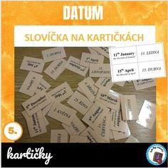 Slovíčka na kartičkách - datum | LesyNápadů.cz Learning, Studying, Teaching, Onderwijs