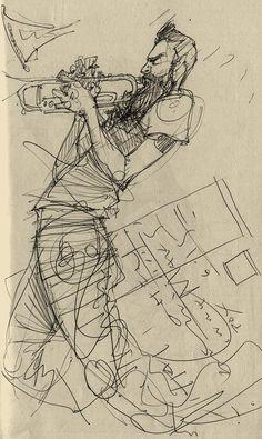 Dancing Drawings, Music Drawings, Pencil Drawings, Art Drawings, Pen Sketch, Art Sketches, Jazz Art, Music Illustration, Sketch Inspiration