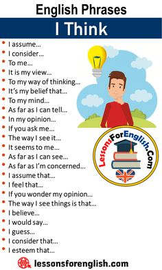 English Phrases – I Think I assume… I consider… To me… It is my view… To my way of thinking… It's my belief that… To my mind… As far as … English Learning Spoken, Teaching English Grammar, English Vocabulary Words, Learn English Words, English Idioms, English Phrases, English Language Learning, English Lessons, Education English