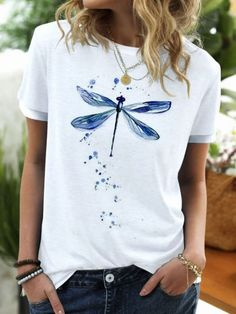 ninacloak.com Shirts & Tops, Casual T Shirts, Tee Shirts, Womens Fashion Online, Graphic Shirts, Fashion Prints, Types Of Sleeves, T Shirts For Women, Crew Neck