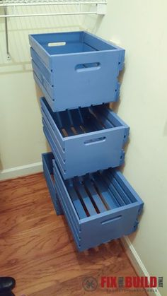 You've Seen Pallet Crate Storage.but Have You Seen Them Float? - Using pallet crates and some full extension drawer slides you can make the ultimate space s. Pallet Crates, Pallet Storage, Crate Storage, Wood Crates, Storage Ideas, Storage Systems, How To Organize Your Closet, Closet Storage, Home Organization