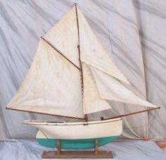 Vintage single mast wooden pond boat