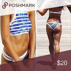 Blue and white striped high neck halter bikini Comes with removable padding Swim Bikinis