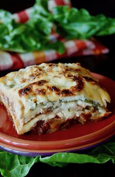 This Swiss Chard Lasagna recipe gluten-free, vegetarian, super hearty, and oh-so-delicious! A twist on a classic, chard leaves are the layers. Vegetarian Lasagna Recipe, Gluten Free Lasagna, Best Vegetarian Recipes, Delicious Vegan Recipes, Gourmet Recipes, Soup Recipes, Cooking Recipes, Vegetarian Meals, Drink Recipes