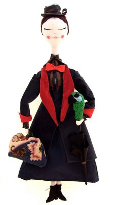 Mary Poppins, handmade doll with removable coat and bloomers ( gosh)