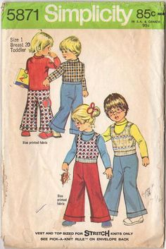 Simplicity Sewing Pattern 5871 Vintage Toddler Size 1 Vest Top and Wide Leg Pants