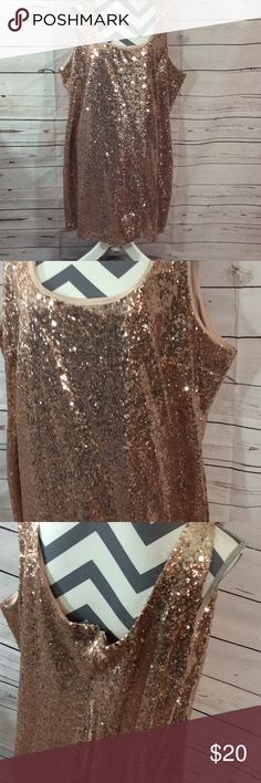 """Rose gold 3X dress (Z-012) This dress is new never been worn just took tags off size 3X chest 27"""" length from shoulder down 38"""" rue+ Dresses"""