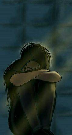 Sad Girl Drawing, Girl Drawing Pictures, Sad Anime Girl, Anime Art Girl, Cute Wallpaper Backgrounds, Love Wallpaper, Wallpapers, Alone Girl Pic, Cute Couple Dp