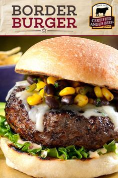 Get your grill ready for this delicious burger recipe! Our Border Burger, made with the BEST Certified Angus Beef®️️️ ground chuck, is LOADED with flavor! Black beans, corn, green chilies, adobo, cumin, chili powder and a little salt pack a tasty punch in this easy burger recipe. Enjoy with grated Monterey Jack cheese, chipotle mayo, and avocados on your favorite buns!  #bestangusbeef #certifiedangusbeef #beefrecipe #grilling #burgerrecipe