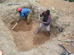 3. Members of the local community helped to dig the four large pits for the new latrines, with individuals taking it in turns to provide labour each day.