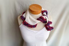 hand knit cotton neck  scarf triangle  with  by 910woolgathering, $30.00