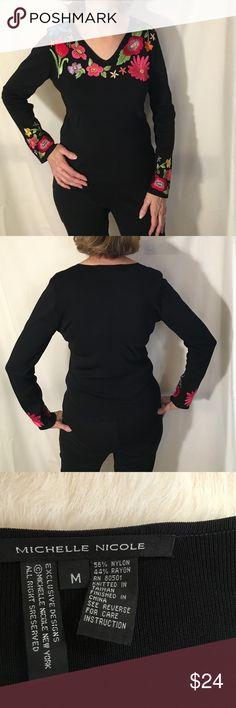 Michelle Nicole black embroidered sweater Beautiful like new condition. No pulls! Michelle Nicole Sweaters