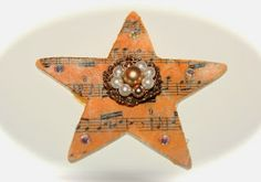 Heirloom Christmas Ornament - I made 10 of these for family Christmas gifts up-cycling some of my Mom's vintage jewels.