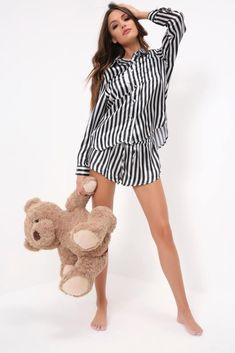 06237fa7beb Black White Striped Shirt And Short Pyjama Set