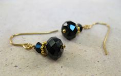 Simple everyday jet black Swarovski crystals vermeil (24 K gold plated) drop earrings - pinned by pin4etsy.com