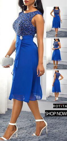 -Royal Blue High Waist Rhinestone Embellished Dress See it Latest Dress For Women, Elegant Dresses For Women, Sexy Dresses, Cute Dresses, Beautiful Dresses, Formal Dresses, Simple Dresses, African Fashion Dresses, African Dress