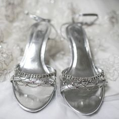 Shirley wore beautiful silver sandals with a kitten heel. Photo credit: Jamie Bodo Photography
