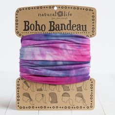 Our super-versatile pink, blue & white tie-dye boho bandeau looks great in every season. Wrap around your head, neck, wrist or ponytail, or wear it as a fun summer top. It's the perfect boho accessory