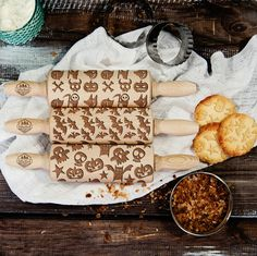 Kitchen Accessories – Scary - Set - 3 MINI rolling pins – a unique product by RollingWoods on DaWanda