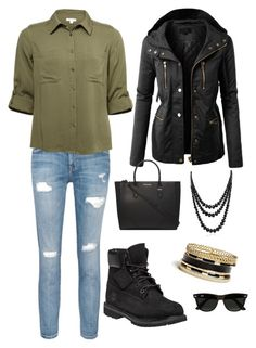 """""""Untitled #1"""" by claaarrraaa ❤ liked on Polyvore featuring Current/Elliott, LE3NO, Timberland, Dorothy Perkins, Bling Jewelry, GUESS and Ray-Ban"""