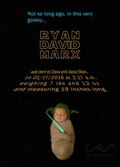 Star Wars Birth Announcement - Newborn Photography crystalamberphotography@gmail.com | 253-245-9019
