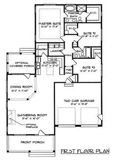 Pretty Front Porch   9354EL | 1st Floor Master Suite, Butler Walk In Pantry