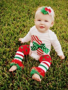 Candy Cane Onesie by RKsCloset on Etsy, $18.00- Just got this outfit for my little baby girl :) first Christmas Eve gift
