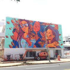 Brazilian trio, Bicicleta Sem Freio just finished their mural in Puerto Rico along side CYRCLE curated by Charlotte Dutoit for Just Kids Official at Santurce Es Installation Street Art, Art Installations, Street Mural, Mural Wall Art, People Art, Street Artists, Retro Design, Tag Art, Graffiti Art