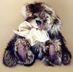 Raccoon Fur Teddy Bear ALWAYS -fur is used from jackets www.kimbearlys.com